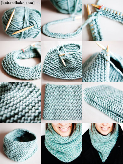 kraftykristin:  I can knit this stitch! (via Turquoise Garter Stitch Cowl Knitting Pattern [ knitandbake.com ] | Knit and Bake)