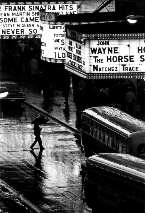 cruello:  Pedestrian in rain on 42nd street, nyc, usa, 1964