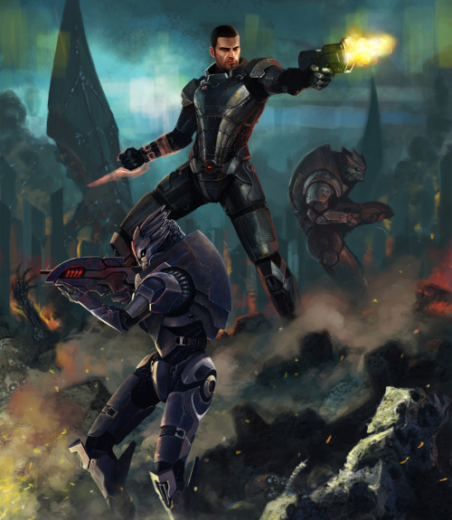 justinrampage:  In honor of Mass Effect 3 landing all over planet Earth, artist Ludrovan Laslo used his biotic illustration skills and created this amazing tribute piece. Damn it feels good to be a Mass Effect gangster… Mass Effect by Ludrovan Laslo (Tumblr)
