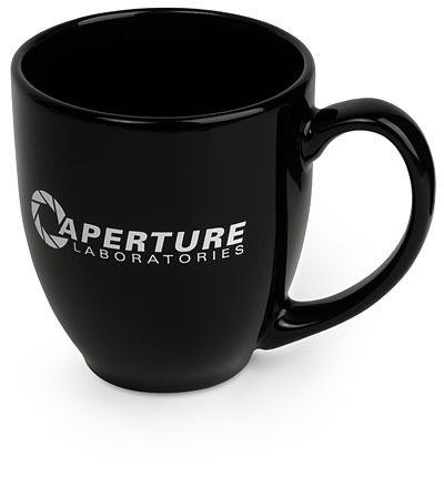 "Aperture Science Mug at $19.95 Welcome to Aperture Laboratories, A Trusted Friend in Science! One of the many perks of working here is that Aperture provides all the human fuel you can drink. Human fuel, or ""coffee"" as it is often called, is available in break rooms throughout the lab. A quality human fuel receptacle can be acquired through the monkeys at ThinkGeek. Please do not use your Aperture Science Mug outside of designated areas, and please do not utilize your Aperture Science Mugs to ingest unsafe liquids or neurotoxins. Science Maybe you'll find someone else to give you coffee… maybe Black Mesa? (That was a joke, ha ha, FAT CHANCE!) Anyway, this coffee is great, so delicious and hot. But look at me still talking when there's science to do…"
