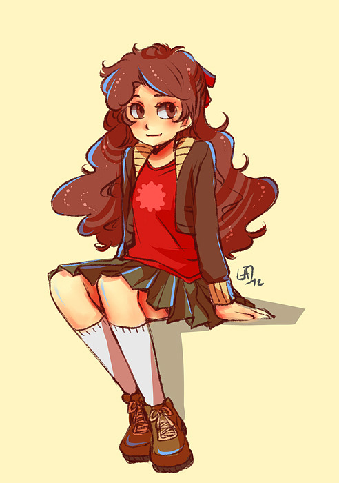 commanderkarkat:  lisola:  Lazyart. Wasn't supposed to be  humanstuck at first but then I realised I forgot to draw her horns so well yeah, haha…  WHAT A CUTE AJIKDLS,CX