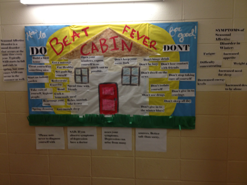 Bulletin board! SAD. Seasonal affective disorder. Not really needed for Wisconsin anymore.