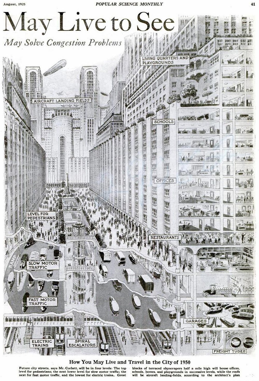inothernews:  The World of 1950, as Envisioned in 1925.  via vintagefuture