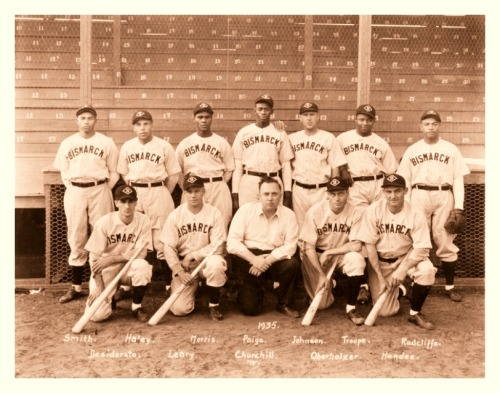 "1935 Bismarck Churchills Team Here's a really clean edit I just finished of the great '35 Churchills, a team that Satchel Paige considered one of the best he ever played for.   From Wiki: ""The Bismarck Churchills were an integrated semi-professional baseball team based in Bismarck, North Dakota in the 1930s. Led by Satchel Paige, Moose Johnson, and Double Duty Radcliffe, the club won the 1935 national semi-pro baseball tournament in Wichita, Kansas. The Churchills played independently of any league because their mixed race roster was a problem in a period of segregation, and because there were no formal leagues at the semi-professional level in North Dakota in the 1930s. The team was owned by Neil Churchill, a local car dealer who owned the city's Chrysler dealership, and regularly played against Valley City, Jamestown, and other teams across North Dakota and Manitoba. Although the club is recalled as the ""Churchills"" today, the team was not formally named in the 1930s, as North Dakota newspapers such as the Bismarck Tribune simply referred to the club as the ""Bismarcks"" in 1935. The team was also referred to as the ""Giants"""