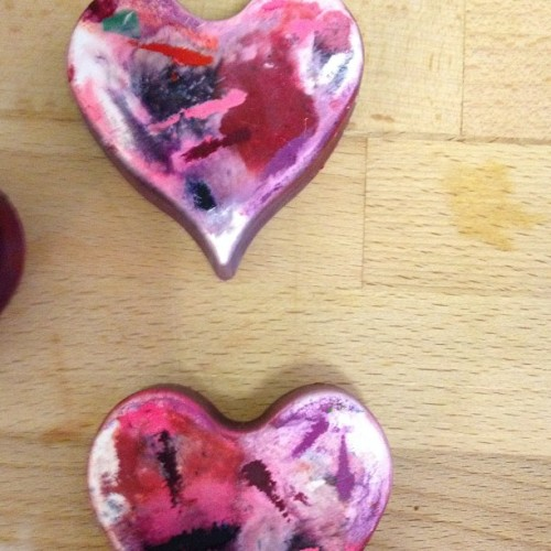 Melted crayon hearts (Taken with instagram)