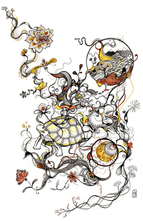 Deborah Yoon. Some Take It Slow. Pen, ink, sumi-e on paper.