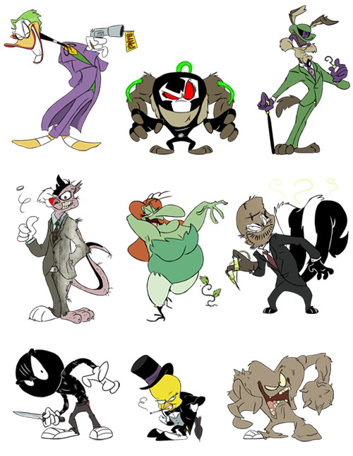 "dcplanet:  ""DC Looney Tunes"" presents: Daffy Joker, Bane de Tazmania, Riddler E. Coyote, Silvester Twofaces, Hazel Ivy, Scare le Pew, Marvin Zsasz, Tweety Cobblepot and Gossamer Clayface Cartoon Art by Sebastian Winter"