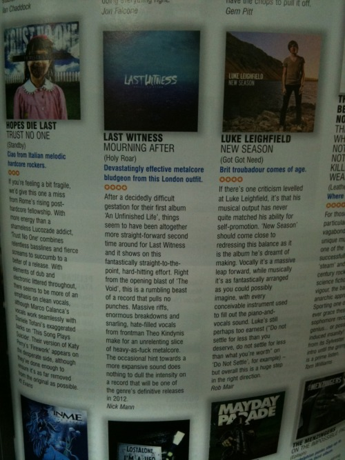 lastwitness:  Big Cheese magazine.  I wrote this review. If you haven't got it already go pick up the new Last Witness album, it's awesome.