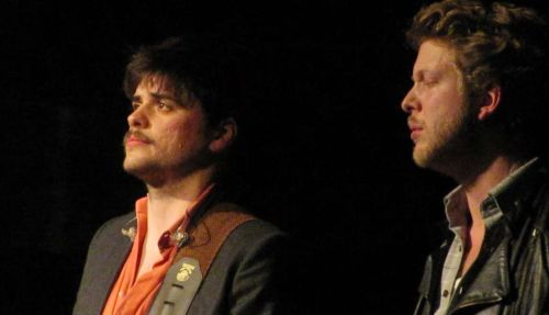 Winston Marshall and Ted Dwane of Mumford & Sons perform @TheRyman in Nashville on March 8, 2012. Photo courtesy of MEETVA2000.