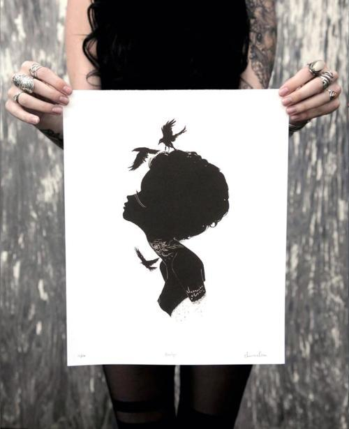 New silhouette print release of my girl Ravelyn. Edition of 100 only. Signed, numbered, titled and comes with a certificate of authenticity.  Get her here: http://www.charmaineoliviashop.com/ xoxoxo