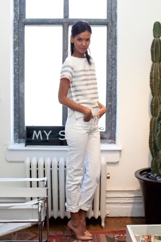 HARD PRESS. REFINERY 29.  Supermodel Liya Kebede in our white cropped jean.