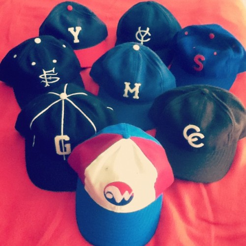 I heart Ebbets Field Flannels caps. Clockwise from top left: York White Roses, Columbus Confederate Yankees, Seattle Rainiers, Cafeteros de Córdoba, Winnipeg Whips, Homestead Grays, San Francisco Seals, Montreal Royals.