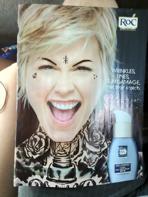 Drawing on magazine ads, on my way to Louisiana! :) [me]
