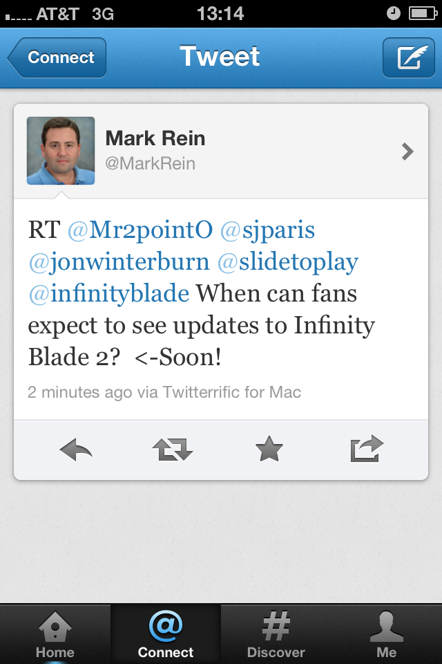 Mark Rein VP of Epic Games says Infinity Blade 2 fans should see updates soon.
