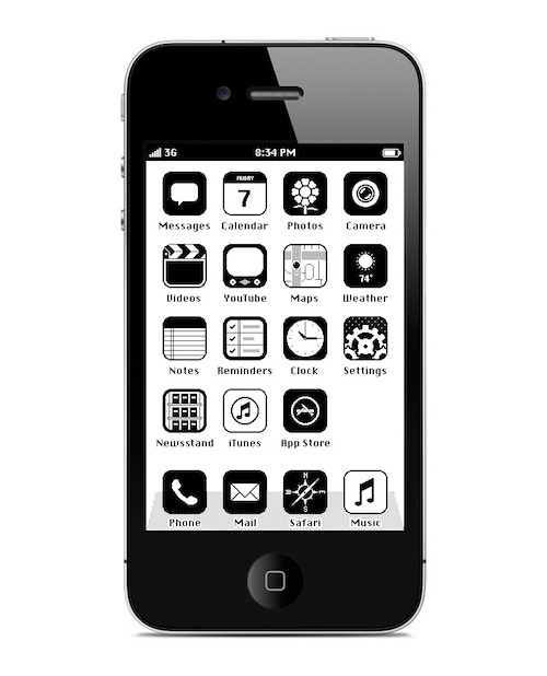 c4jones2:  (via Designer Creates Retro 'iOS '86' iPhone Interface - DesignTAXI.com) Think I just found the best reason to jailbreak my iPhone… How cool is this? And think of all that battery life you'd save by not using color :-P