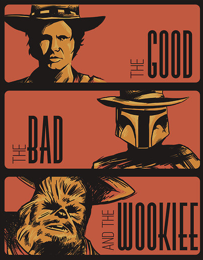 tiefighters:  The Good, the Bad and the Wookiee - by Morelia Michoacan Available at RedBubble (Via:adamworks)