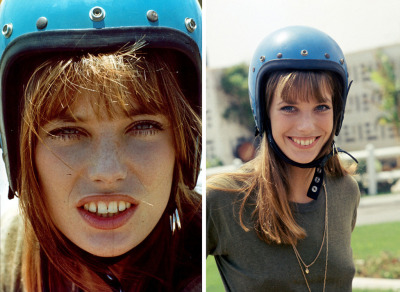 Jane Birkin, actress. Helmet fashion.
