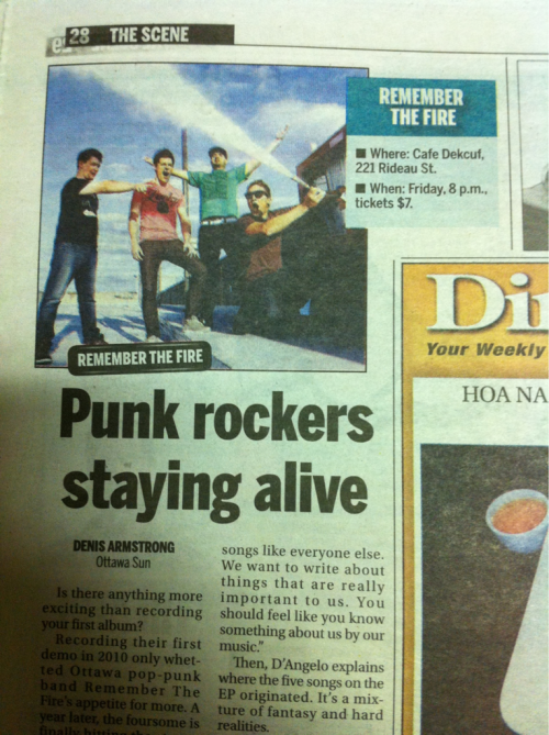 Check out the Ottawa Sun today!  We're featured on Page 28 under The Scene Section.