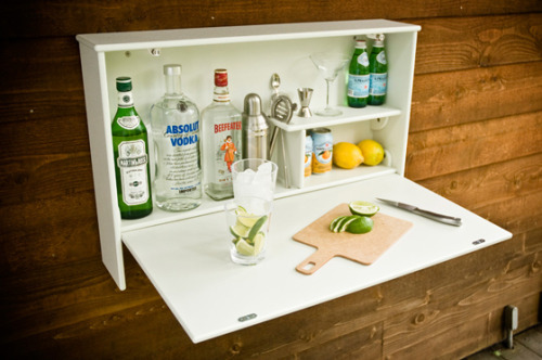 suitep:  noraleah:  Wallbanger: an instant bar. Neat! (But get that vodka out of there before a cocktail geek sees it!)  This is great!  RELEVANT TO MY INTERESTS