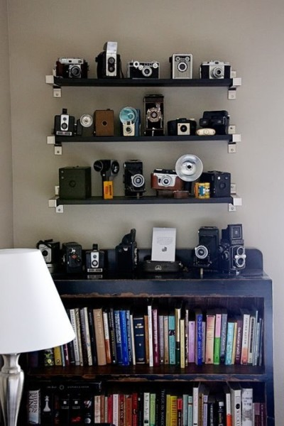 onesandtwos:  I need some shelves to display all my cameras on.
