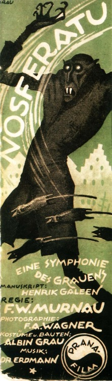 "Promotional poster for F.W. Murnau's ""Nosferatu"", 1922. Team Orlok"
