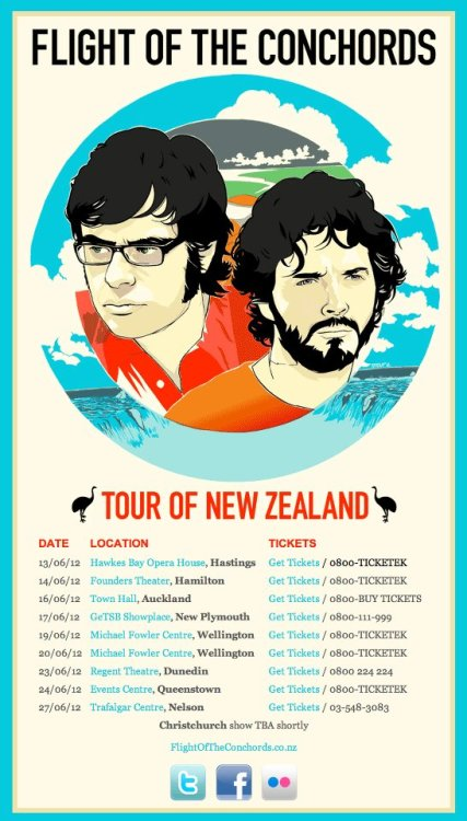 "Great news for you Kiwis! Bret and Jemaine have just announced a national New Zealand tour! Jemaine says that it will be  ""by far the most convenient tour [they've] ever done"".  Excitement!"