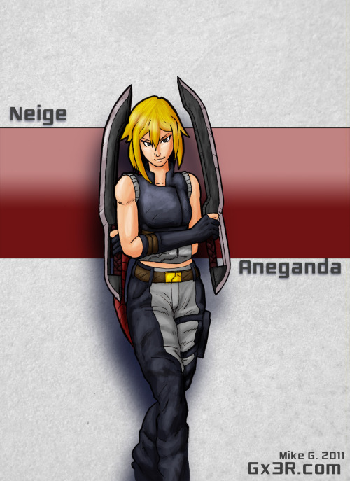 Neige is a mercenary in the sci-fic Comic series Antares Complex  who's trying to make a living in a chaotic galaxy. She's a rouge like fighter using her wits, her blades, her feet and if things get too heated there's her 10mm pistol on her hip. Her ways are a bit brutal but shes been taught: kill or be killed. She will do what it takes to win and make a living for her and her crew. About the pic: I was messing with colors and coloring techniques here, also I wanted to play with her new swords and body armor to be seen later in the series. Antares Complex © Gx3R / Mike Girardin