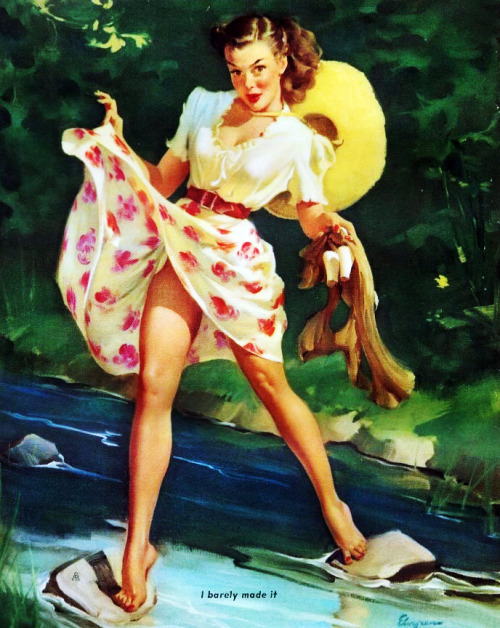 """I Barely Made it"" by Gil Elvgren, 1948"