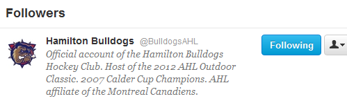 THE HAMILTON FUCKING BULLDOGS ARE FOLLOWING ME ON TWITTER YAY………..they're following 2104 other people as well but idc