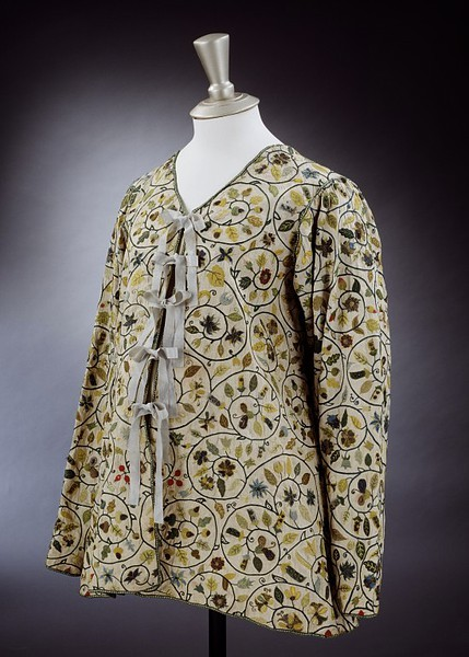 Lavishly embroidered linen jackets were incredibly fashionable in England from just after 1600 until the mid-1620s. This jacket's loose fit and simple tie front suggest that it was worn during pregnancy.