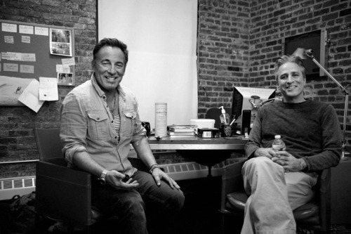 sachalecca:  (Photo: Sacha Lecca) Bruce Springsteen and Jon Stewart at Jon's office at the Daily Show for the interview featured in the current issue of Rolling Stone. Above is the moment they started to tired of me…. more images: http://www.rollingstone.com/music/photos/jon-stewart-interviews-bruce-springsteen-20120314