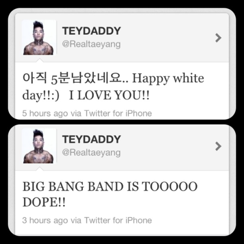 Tae yang's twitter (As above) Happy White Day, peeps! :) huh? Who do you love, Taeyang? WHO?