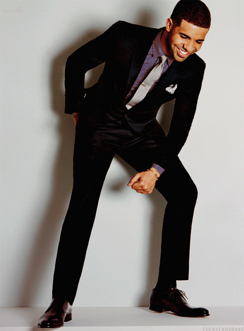 Drake for GQ America April 2012 Issue 5 Side aligned tie pin, patent derby footwear and a raffish pocket square to boot…