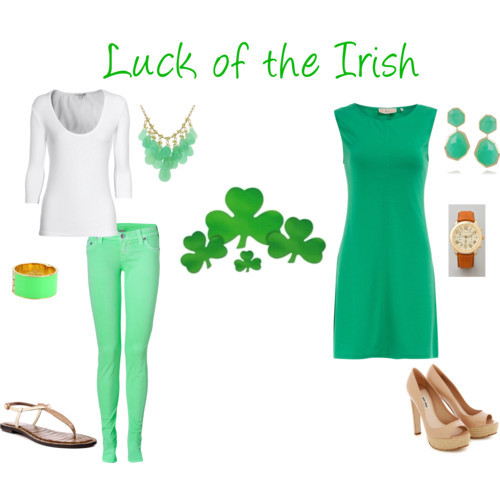 St. Patrick's Day attire by bostonbliss featuring oversized watches