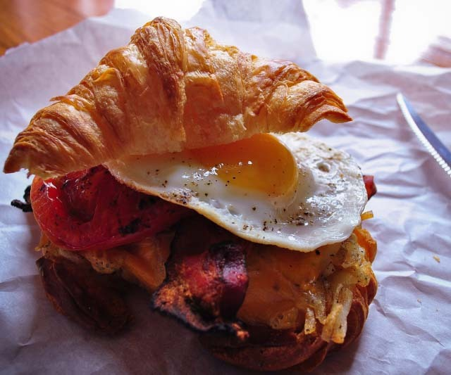 fooddrinkandmore:  Croissant Breakfast Sandwich