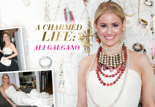 "Every little girl dreams of playing dress up, and Ali Galgano of Charm & Chain is no exception. As the founder of one of the internet's premier jewelry shopping destinations, Miss Ali's closets, walls, dressers, and coffee tables are constantly dripping in colorful jewels and gems to accent her vintage and designer duds. Ali's SoHo, New York City, apartment is the epitome of downtown chic, featuring an eclectic mix of statement furniture, found objects, fashion-inspired prints, sensuous glassworks, and tons of West Broadway light. It is here that she lives with her fiancé, music entrepreneur Dan Zaccagnino.  At The Aisle New York we believe that happy brides make the prettiest brides, and what could make any bride happier than a day spent trying on wedding gowns in the comfort of your very own home? We visited Ali with some of our prized bridal gowns from Isaac Mizrahi, Monique Lhuillier, Carolina Herrera and more for her to adorn with standout pieces from her personal Charm & Chain treasure trove. While she doled out styling advice (""More is always more!"") and beauty preferences (""It's all about a dramatic eye"") we became transfixed by Ali's newly engaged glow and her magnificent confidence – it's not every day you meet a bride who can pull off an ""Ellis Island"" themed wedding reception! In our photo montage from our bridal playdate with Charm & Chain you will find myriad inspiration on how to use accessories to give a spare wedding gown a personalized flare, how to accent an embellished gown with the proper amount of additive bling, ways to make your bridal bustier work overtime as eveningwear, and so much more. With The Aisle New York's easy 5-day try-on and return policy, you too can have a bridal dressing session in the comfort of your own home, just like Ali!"