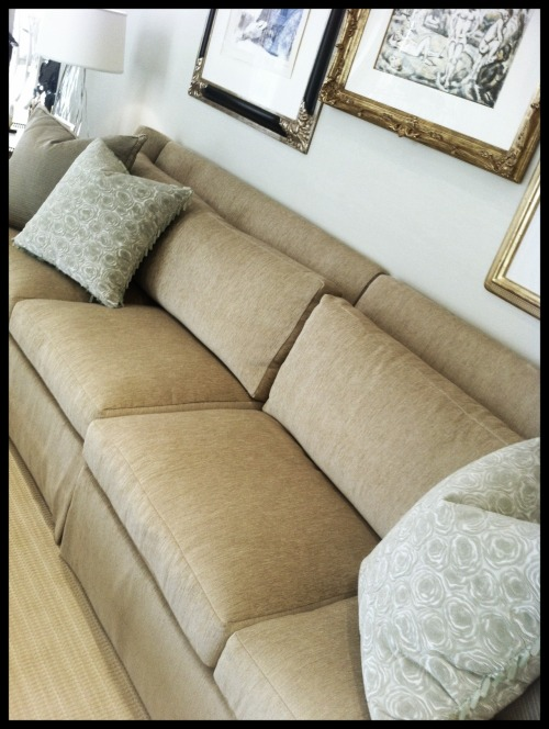 A large sofa can work well in an apartment or condo. Just look for a two-piece like this one we used in a client's residence.