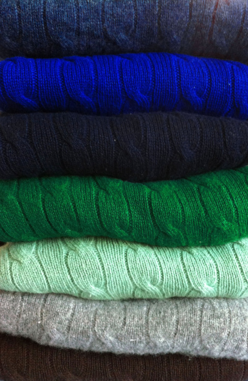 theswampyankee:  Some staple Polo Ralph Lauren cashmere cableknit crewnecks. Still too suspicious of this warm weather to finally retire them for the season.