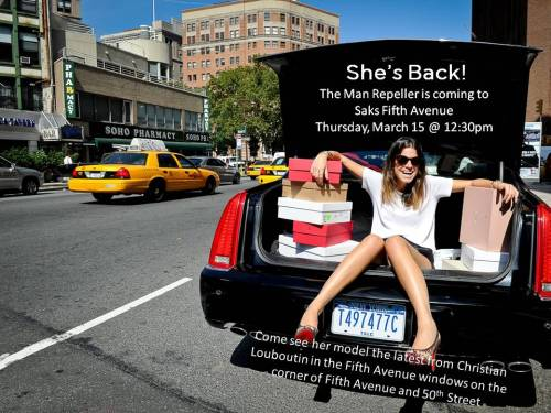 It's true, I am. 10022-shoe:  She's Back! The Man Repeller is returning to Saks Fifth Avenue for her close-up.Blogger Leandra Medine will be modeling the Christian Louboutin 20th Anniversary Capsule Collection in our Saks New York Fifth Avenue windows tomorrow, March 15 at 12:30pm. Voyeurs welcome – See you there!Photo by KSW