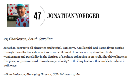 Congrats to Jonathan for being featured in Oxford American's 100 UNDER 100: The New Superstars of Southern Art Continued!