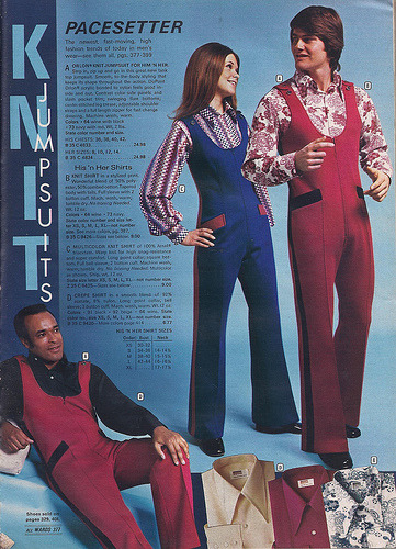 One day I may cease to be fascinated by his-n-hers jumpsuits as a fashion concept. But today is not that day. Also, the guy on the right seems to be wondering what happened to the tub of Pringles he was carrying five minutes ago.