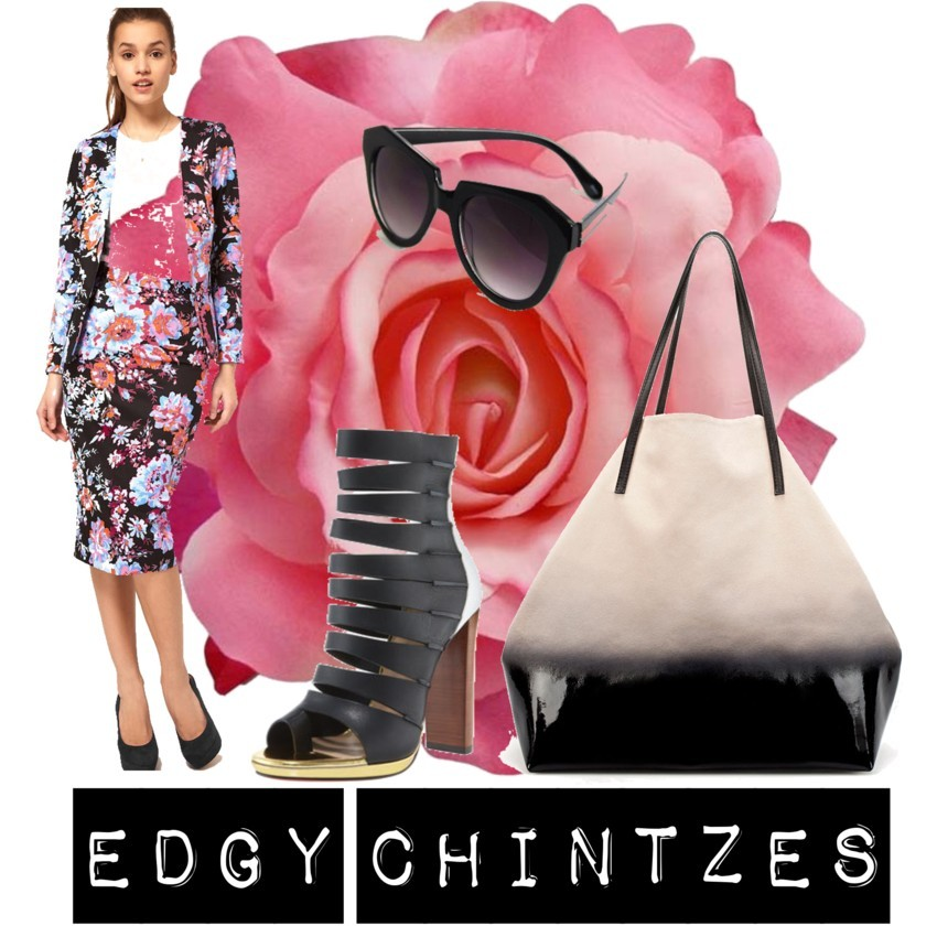 Edgy Chintzes by daniellegrigsby featuring flower hair accessoriesZara$169 - zara.comASOS pencil skirt$72 - asos.comBlack shades$15 - spottedmoth.comFlower hair accessorymydivascloset.com