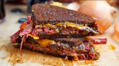 oohhhbaby:  corned beef grilled cheese sandwich