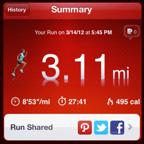 Broke 9 minutes per mile for the first time this afternoon.  Thrilled!