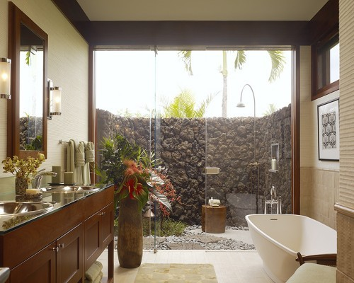 Hawaiian master bath with outdoor shower area. Luv. Slifer Designs.
