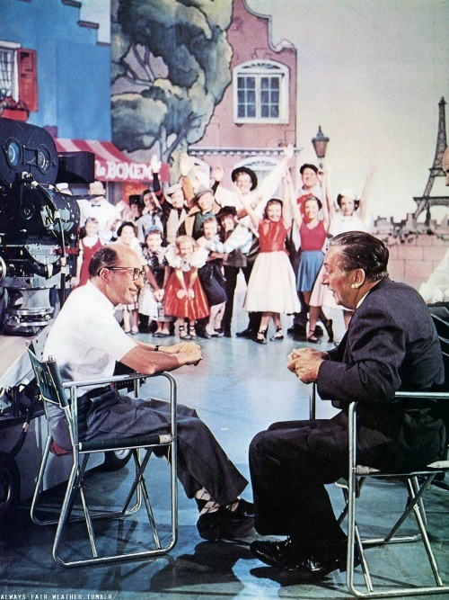 always-fair-weather:  Walt Disney and Bill Walsh on the set of The Mickey Mouse Club