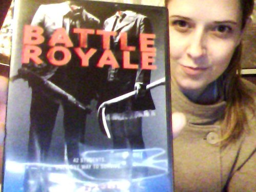 "About to finally see Battle Royale a.k.a. ""Batoru Rouaiaru""  A Japanese film with the same basic premise as the Hunger Games The tag line is: ""42 students. only one way to survive"" Basic Plot Synopsis: Japanese students are sent to a remote island, affixed with exploding neck collars and given a random weapon to hunt and kill each other with. only one can survive.  REALLY FUCKING LOOKING FORWARD TO THIS DARK, FUCKED UP AWESOMENESS!"