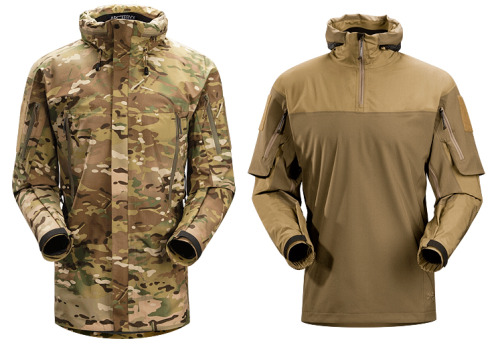 Arc'teyrx Leaf Alpha Parka and Gryphon Halfshell Outerwear.