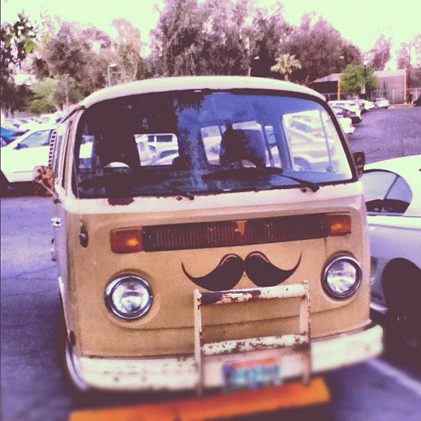 orgasmisblue:  I saw at this car and I had to take a picture. #combi #mustache #vintage #car (Tomada con instagram)