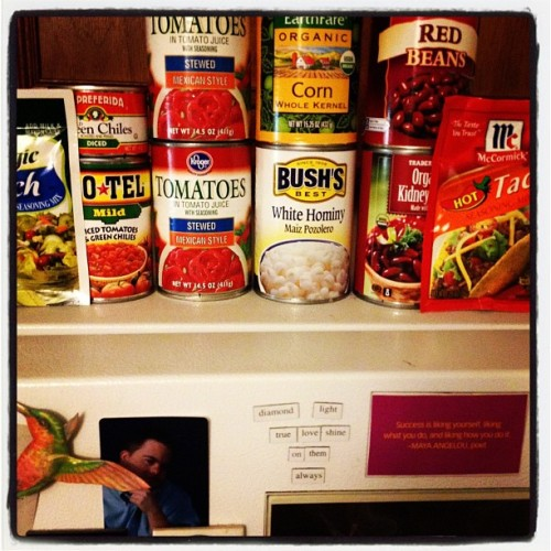 Taco soup waits for the ground beef to thaw.  (Taken with instagram)